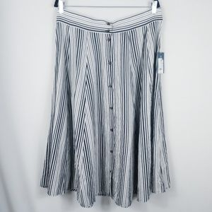 Universal Thread Skirt A-Line Striped Buttons NWT